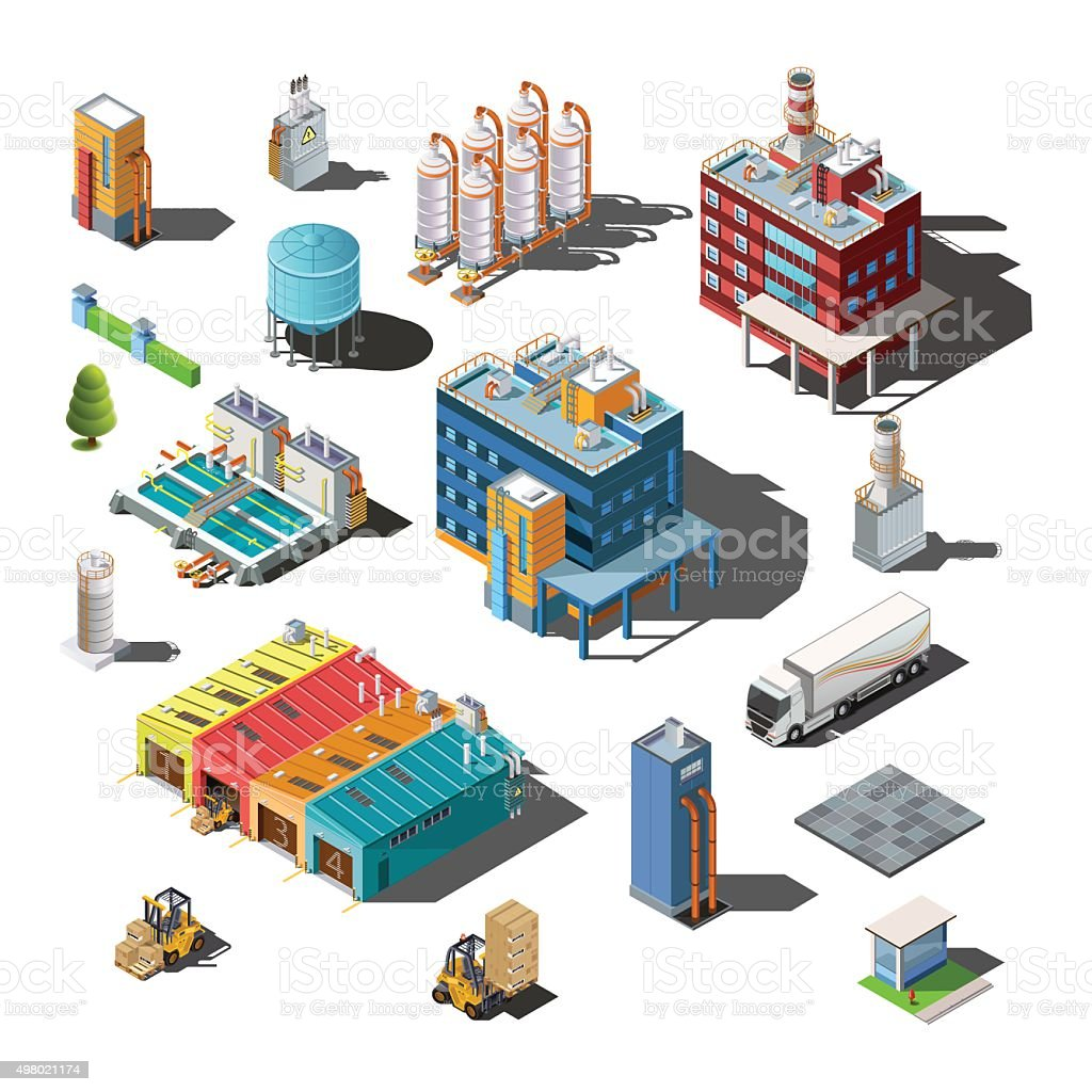 Icons and compositions of industrial subjects, isolated constructions vector art illustration