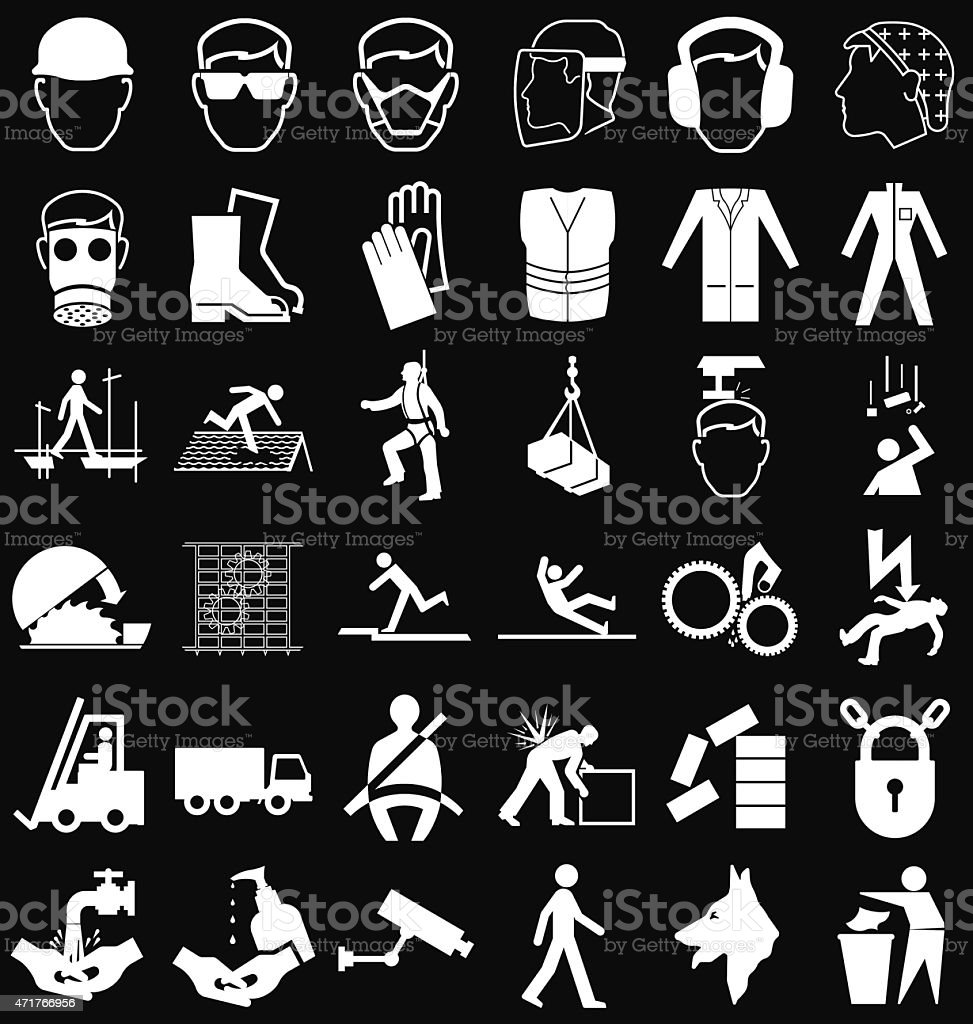 Icons and graphics of health and safety vector art illustration