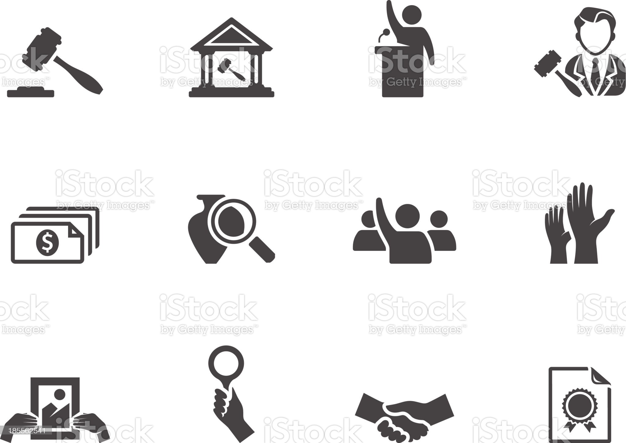 BW Icons - Auction royalty-free stock vector art