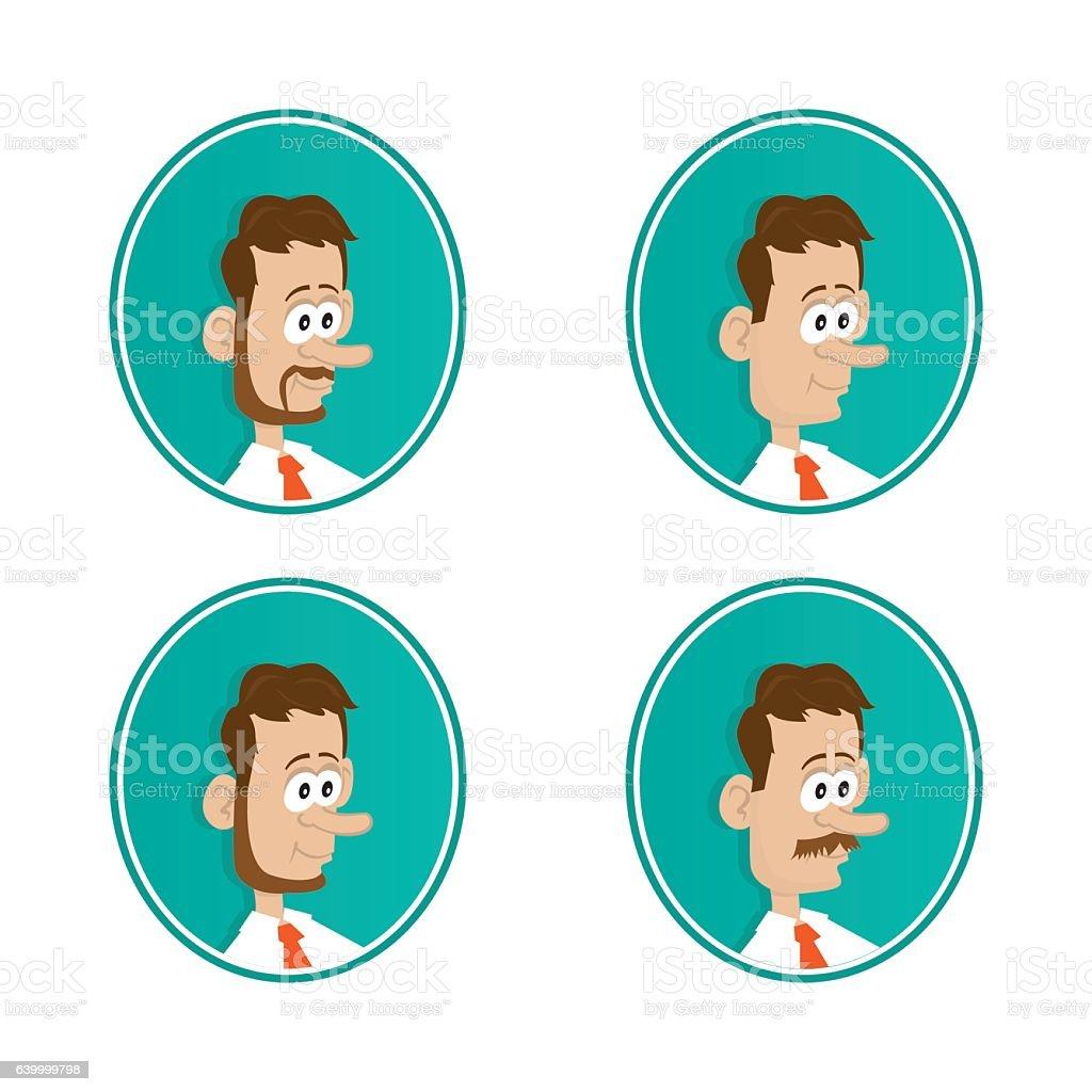 icons. beard. mustache vector art illustration