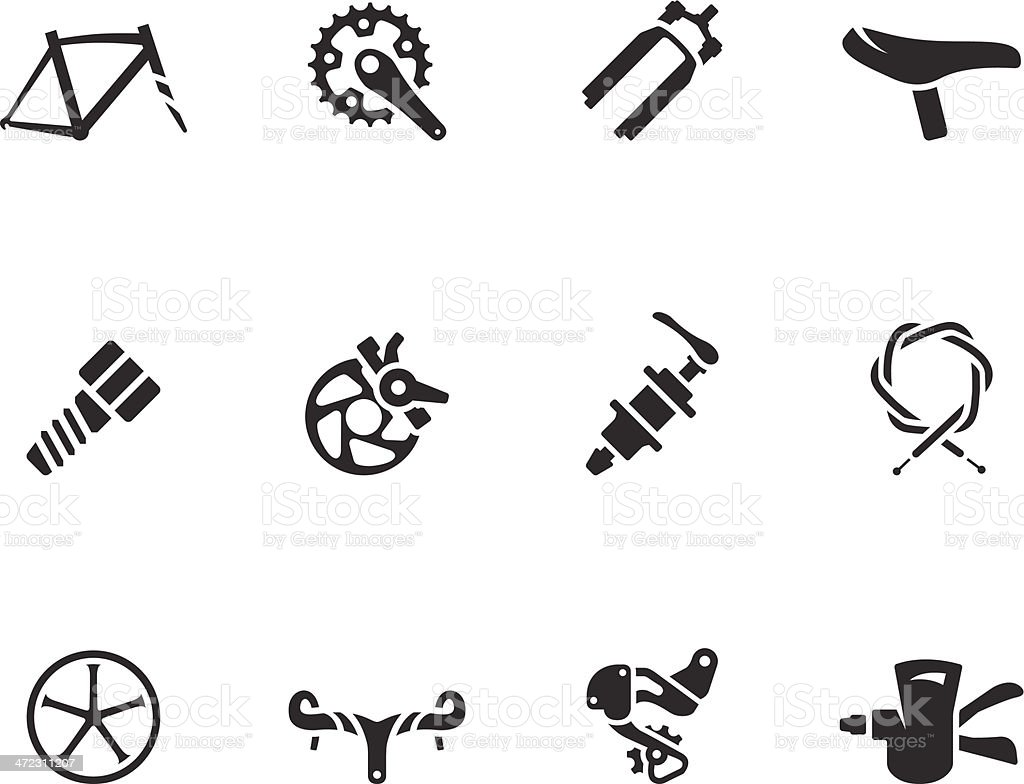 BW Icons - Bicycle Parts vector art illustration