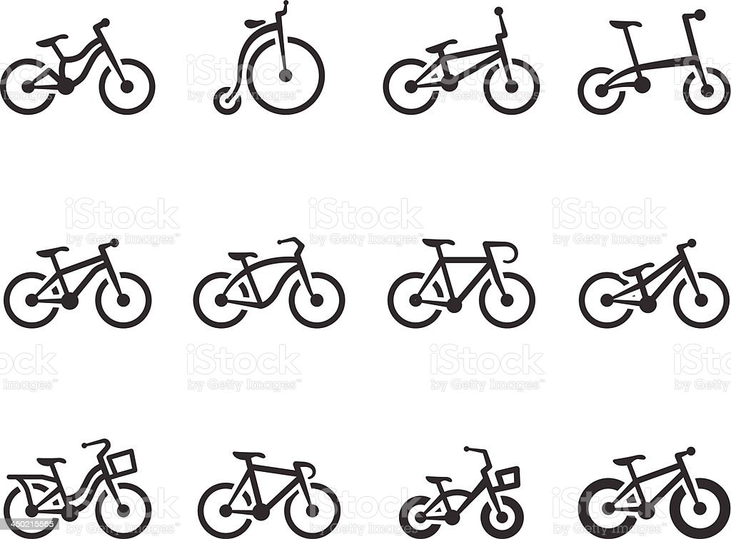BW Icons - Bicycles royalty-free stock vector art
