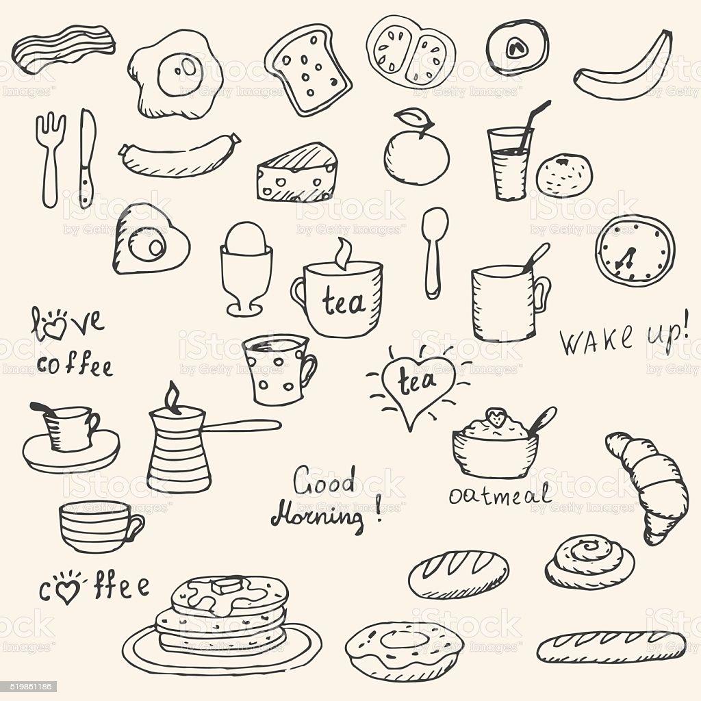 Icons breakfast foods vector art illustration