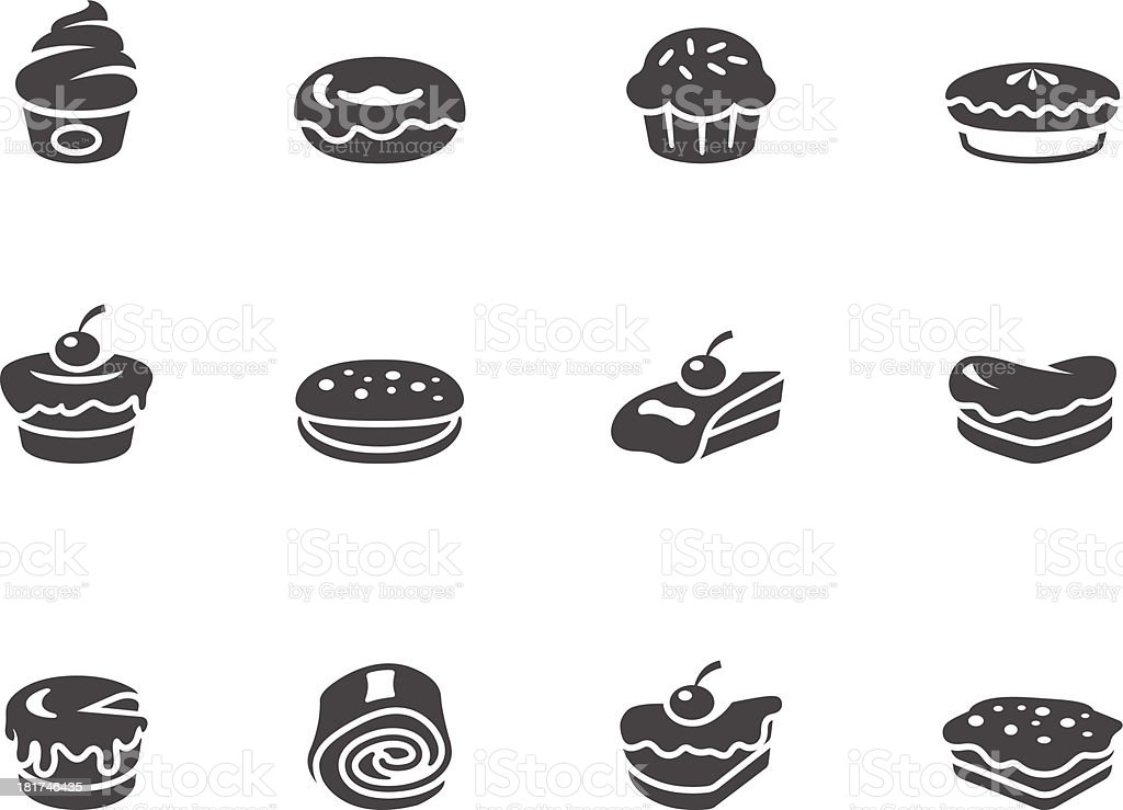 BW Icons - Cakes vector art illustration