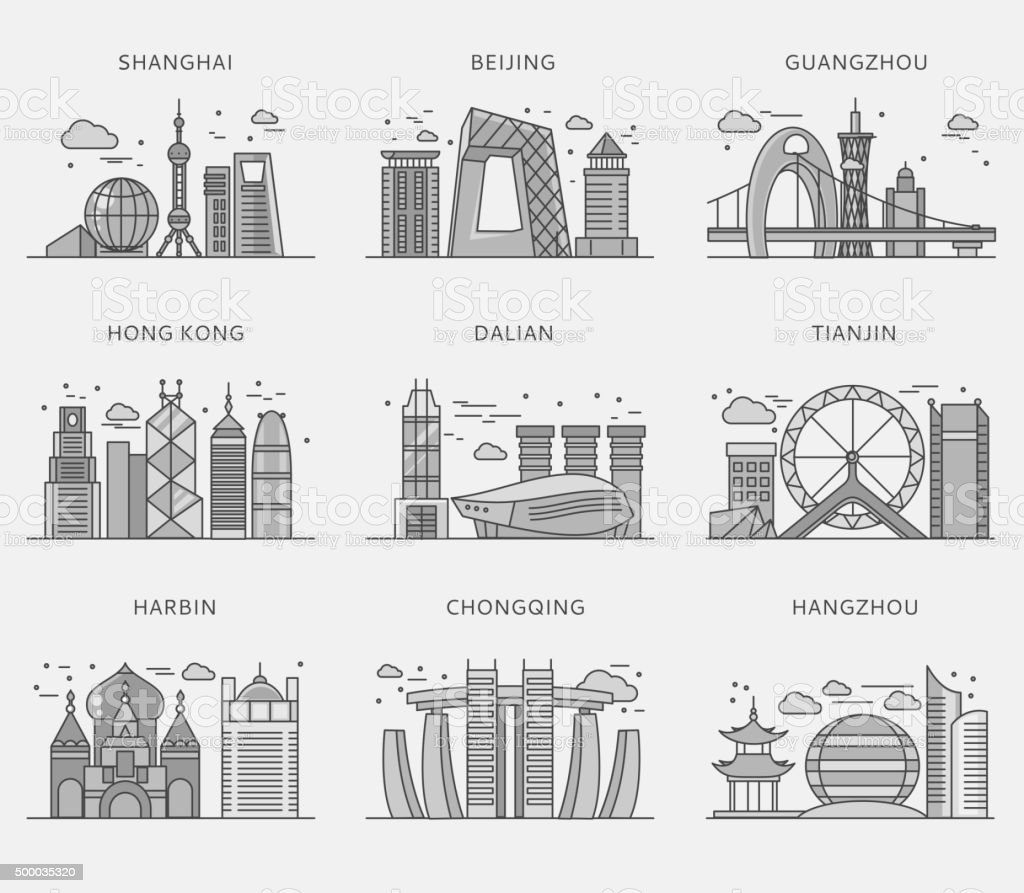 Icons Chinese Major Cities Flat Style vector art illustration