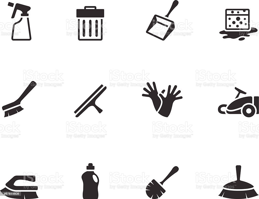 BW Icons - Cleaning Tools royalty-free stock vector art