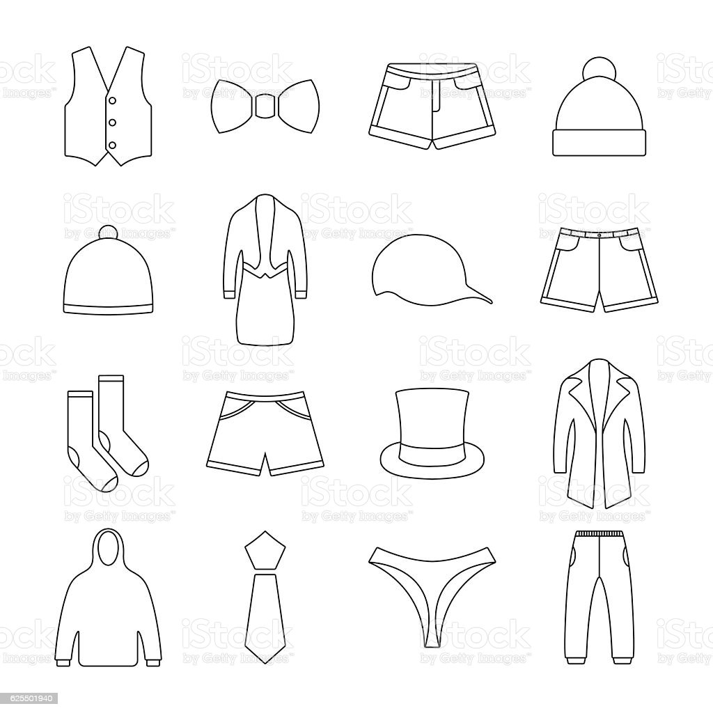 Icons clothes, vector illustration. vector art illustration