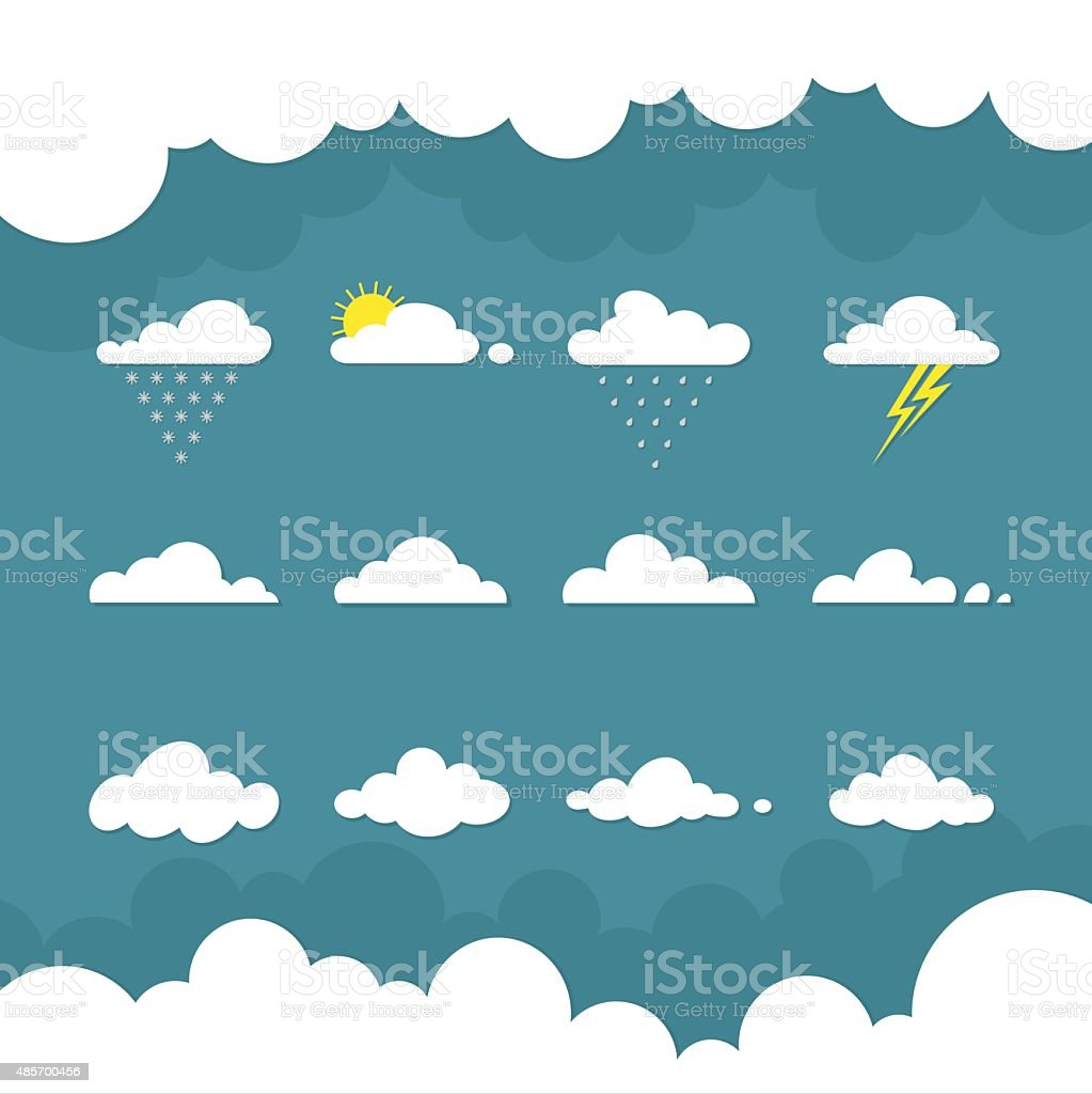 Icons cloud for your design. weather forecast. flat illustrations vector art illustration
