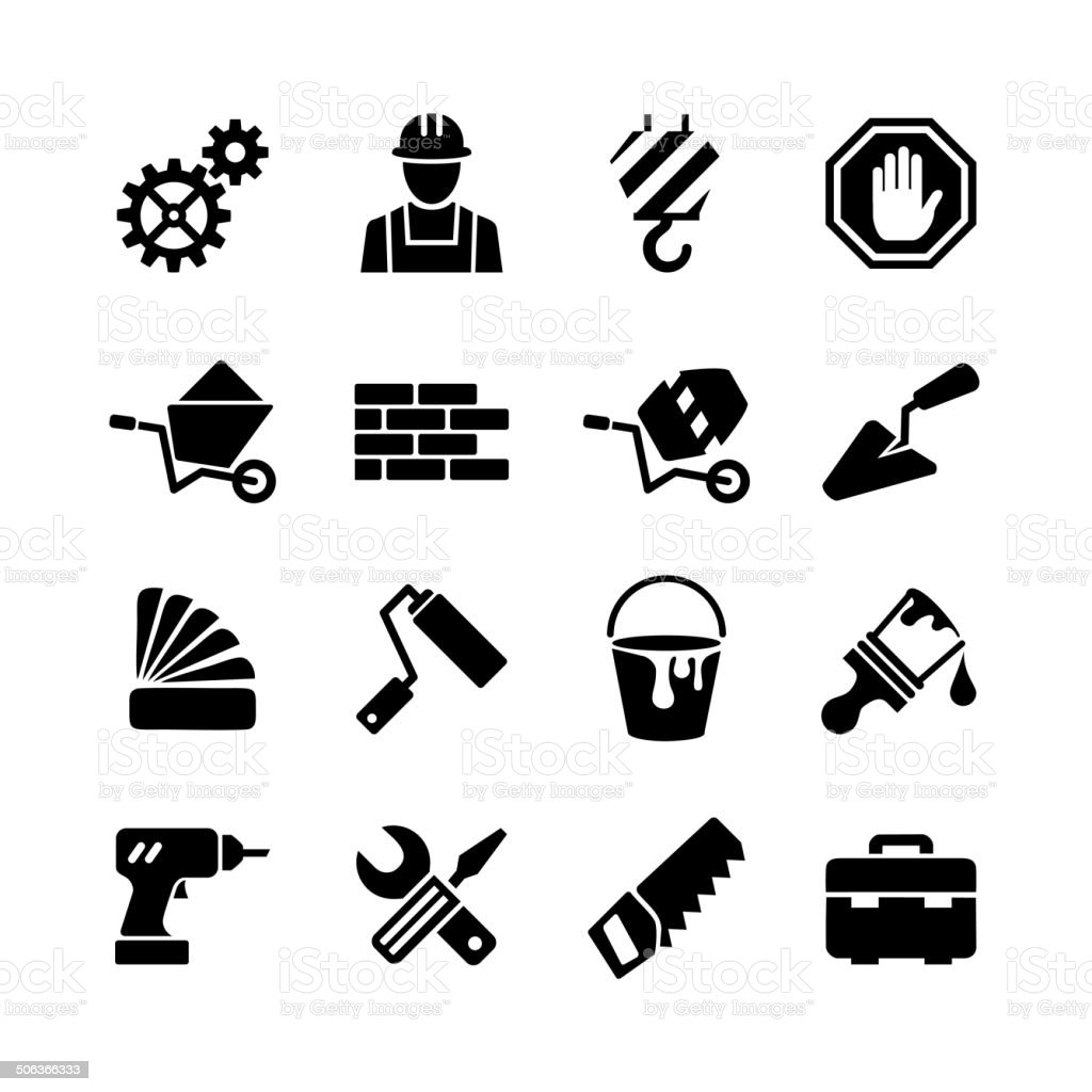 Icons collection - building, construction, repair and decoration vector art illustration