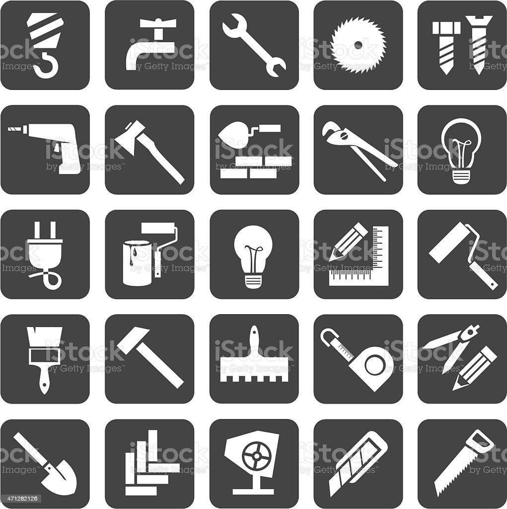 Icons construction and repair vector art illustration