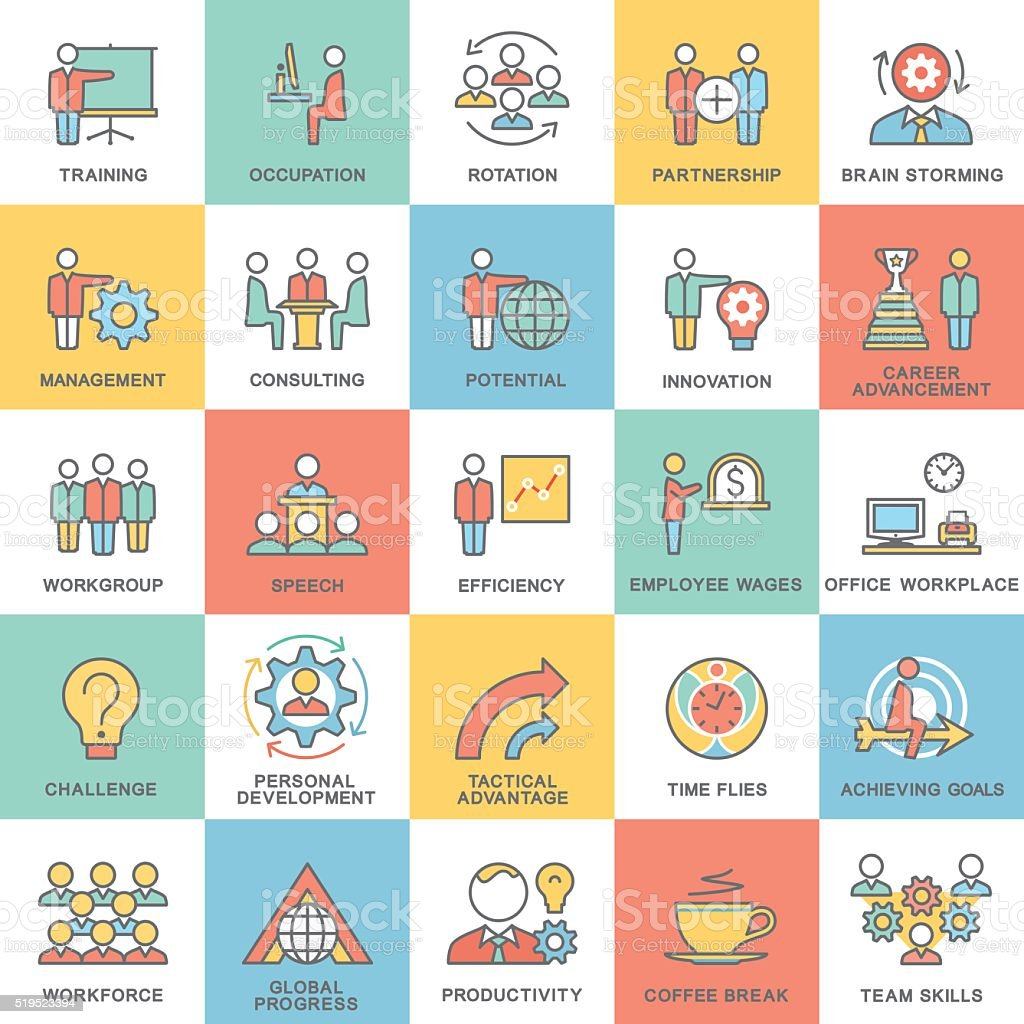 Icons corporate governance, business training. Teamwork and advice. vector art illustration