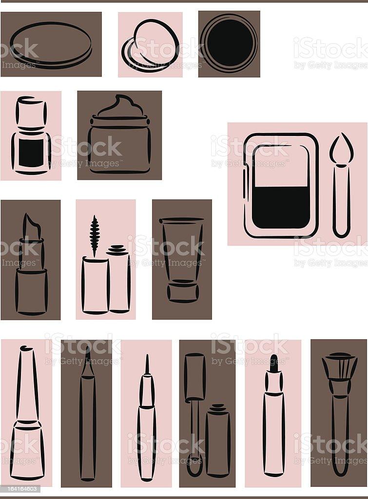 Icons cosmetics vector art illustration