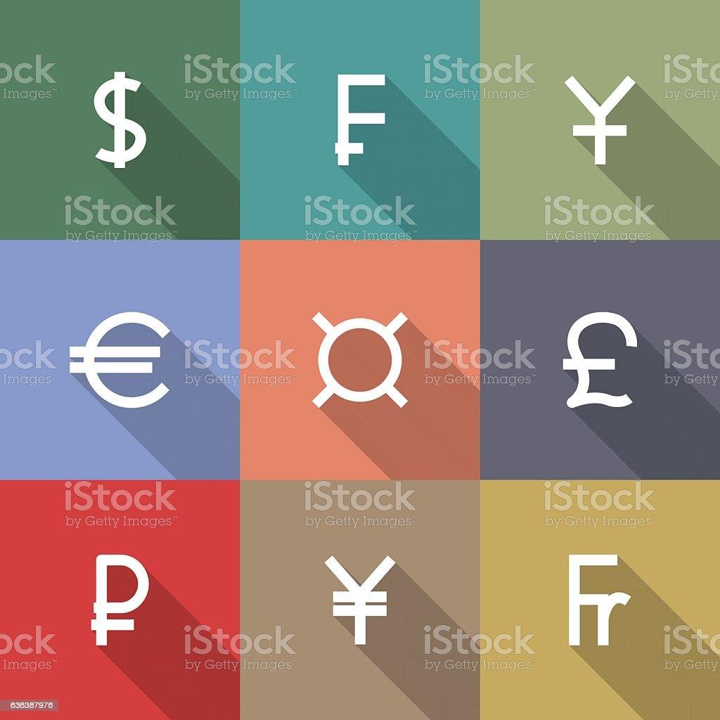 Icons currency symbols, vector illustration. vector art illustration