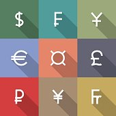 Icons currency symbols, vector illustration.