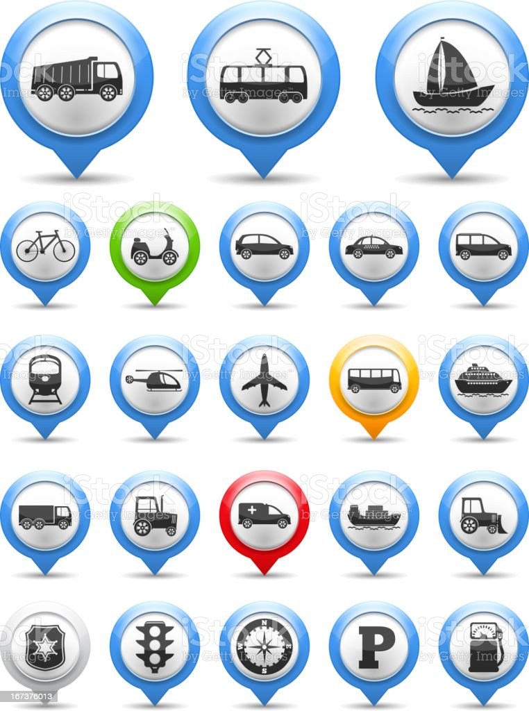 Icons depicting different forms of transportation royalty-free stock vector art
