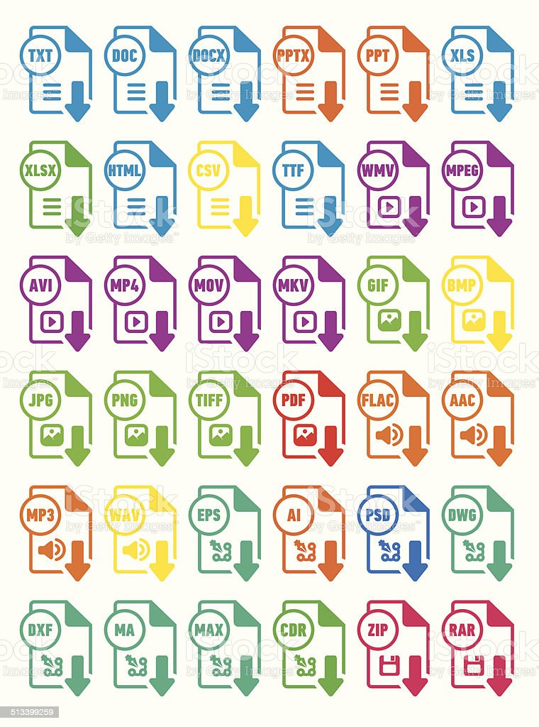 Icons download extension files vector art illustration