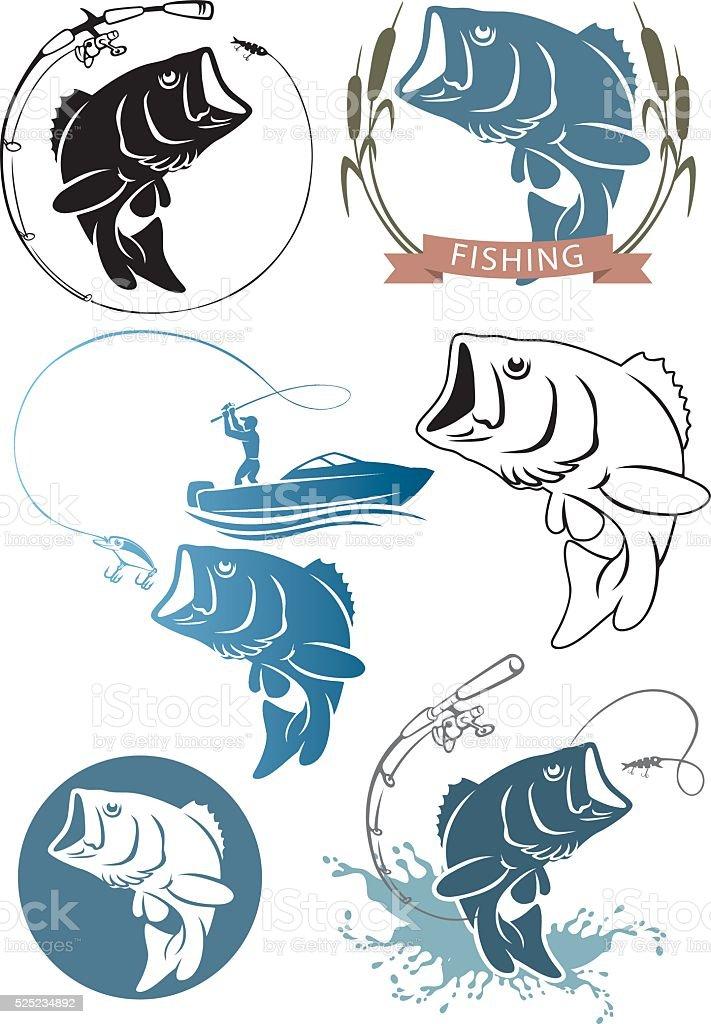 Icons  fish bass vector art illustration