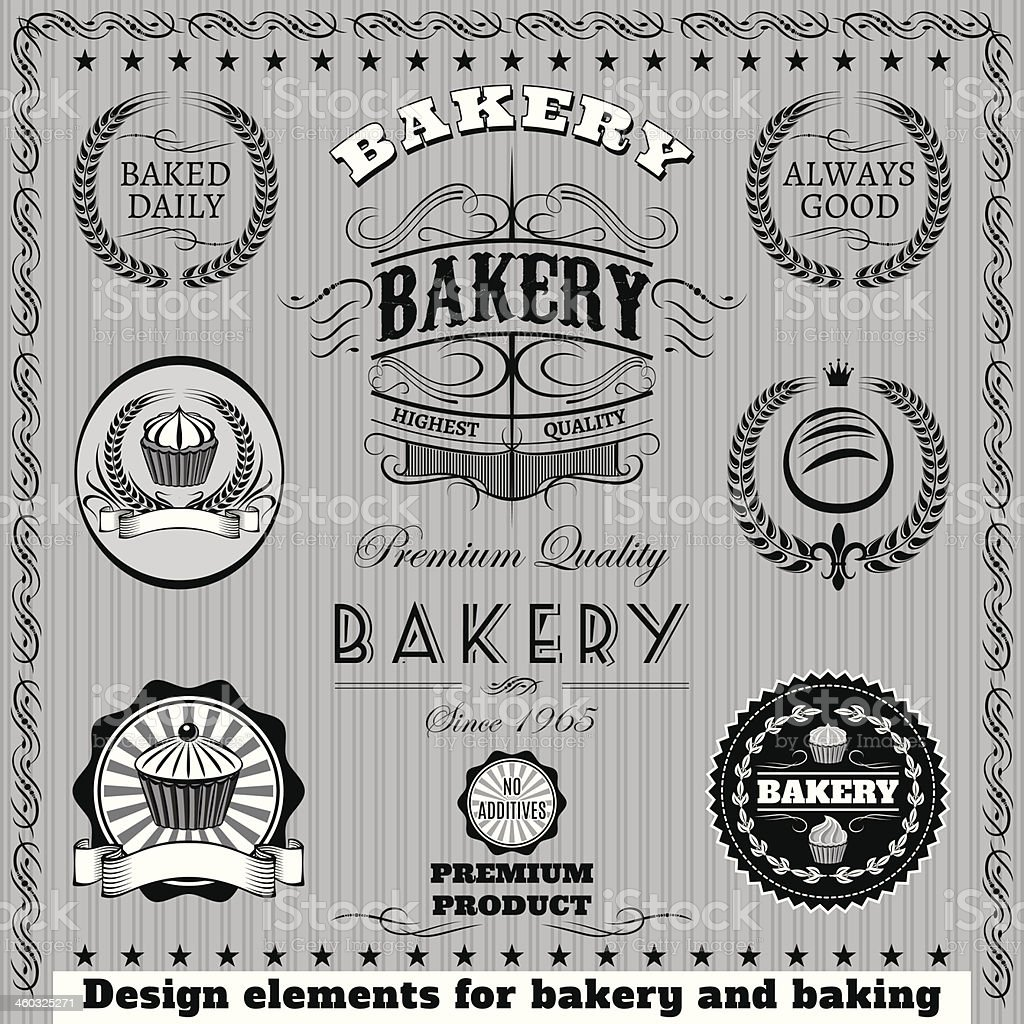 icons for  baking and bakery royalty-free stock vector art