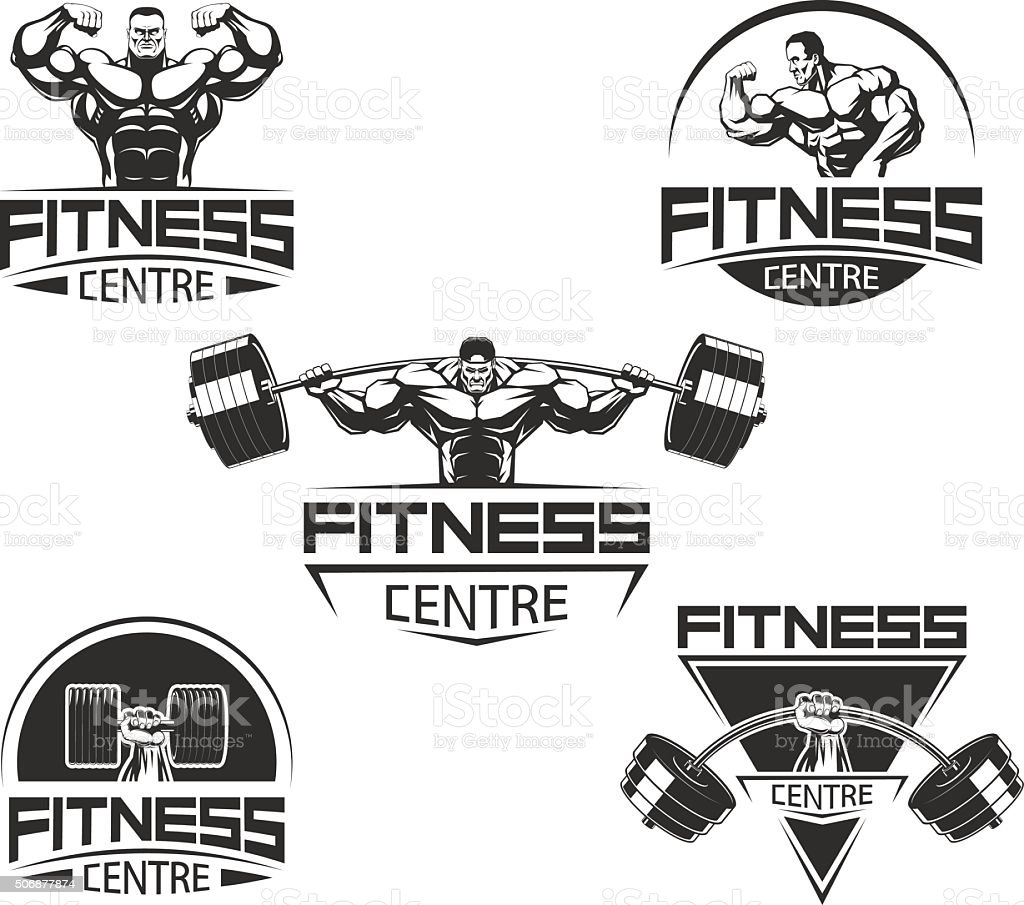 Icons for bodybuilding and fitness vector art illustration