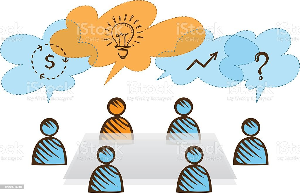 Icons for business people brainstorming around a table royalty-free stock vector art