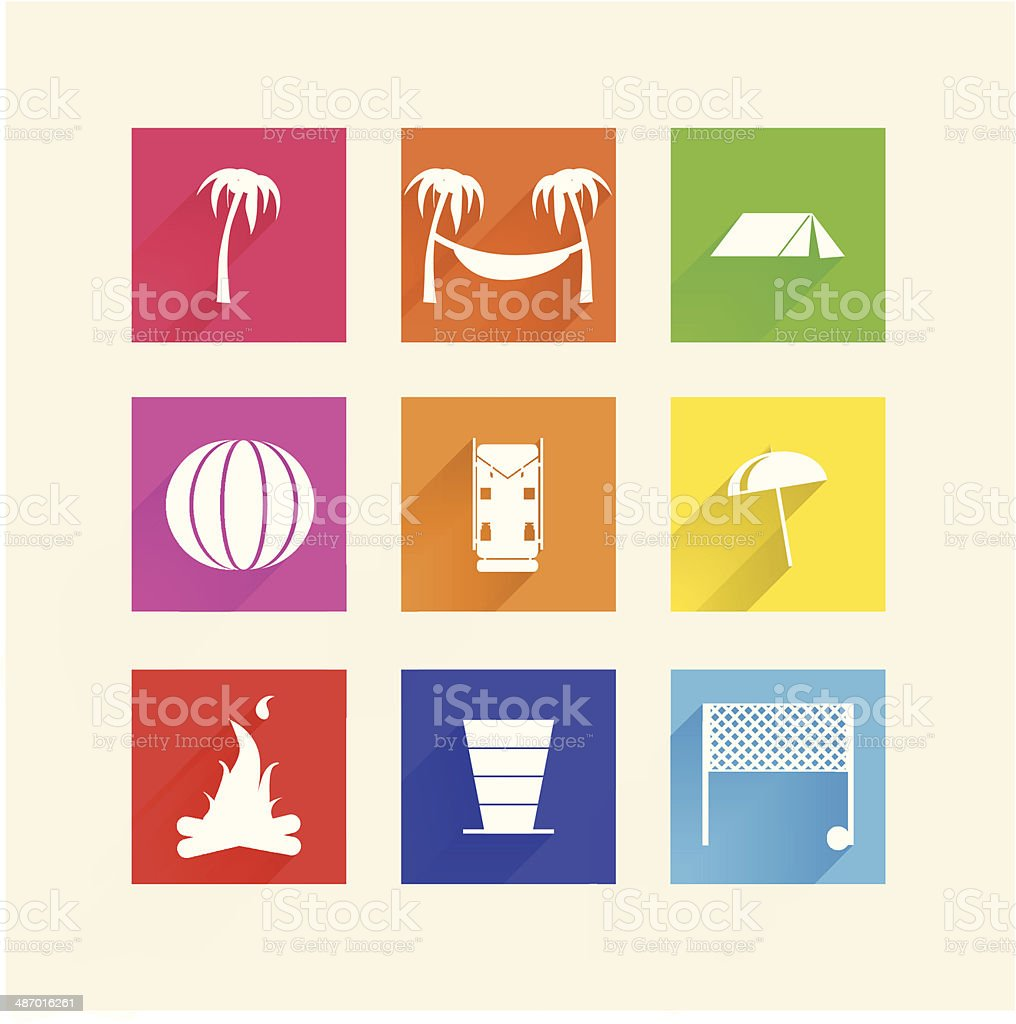 Icons for camping vector art illustration