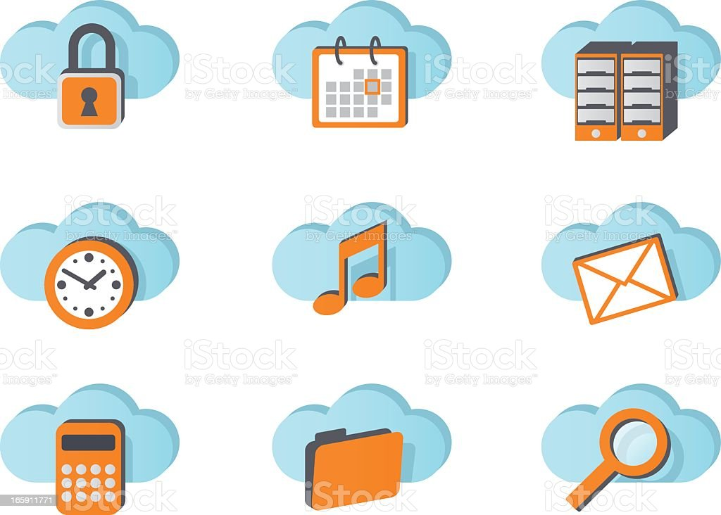 Icons for cloud services royalty-free stock vector art