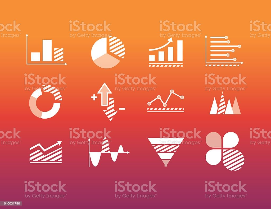 Icons for data analysis vector art illustration
