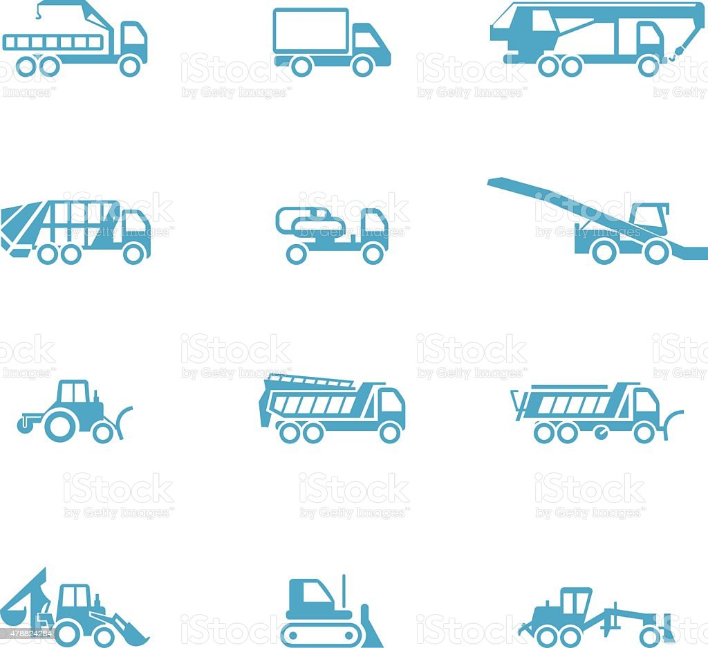 Icons for different types of special vehicles, part 3 vector art illustration