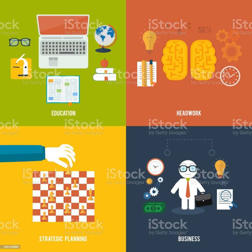 Icons for education, headwork, strategy, business. royalty-free stock vector art
