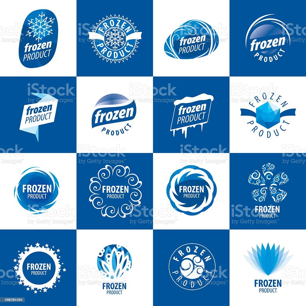 icons for frozen products vector art illustration