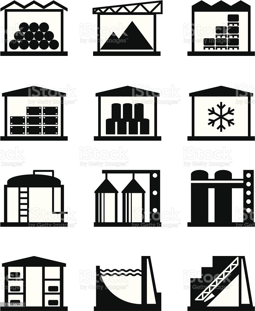 Icons for industrial and commercial warehouses vector art illustration