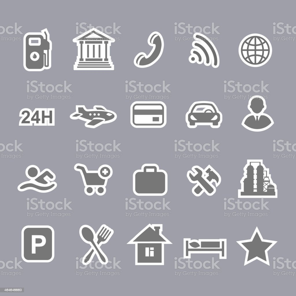 Icons for locations and services  airport shopping restaurant  hotel gas vector art illustration