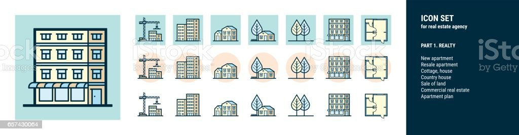 Icons  for real estate agency. Part 1. Realty vector art illustration