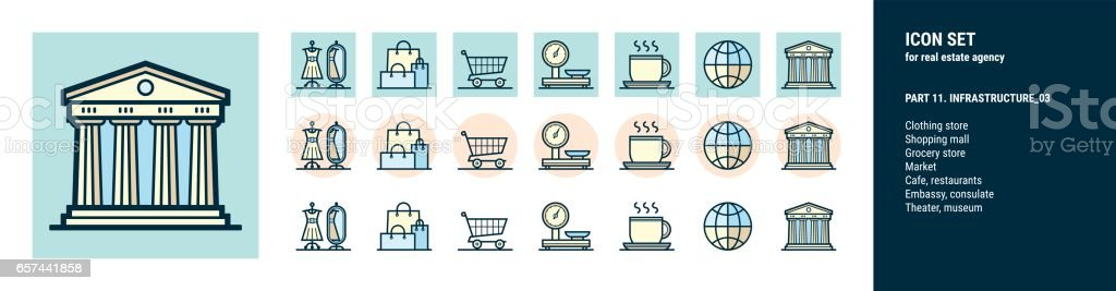 Icons  for real estate agency. Part 11. Infrastructure_03 vector art illustration