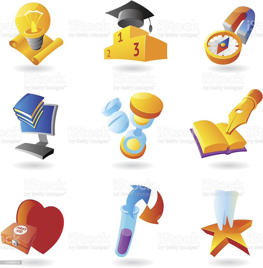 Icons for science and education royalty-free stock vector art
