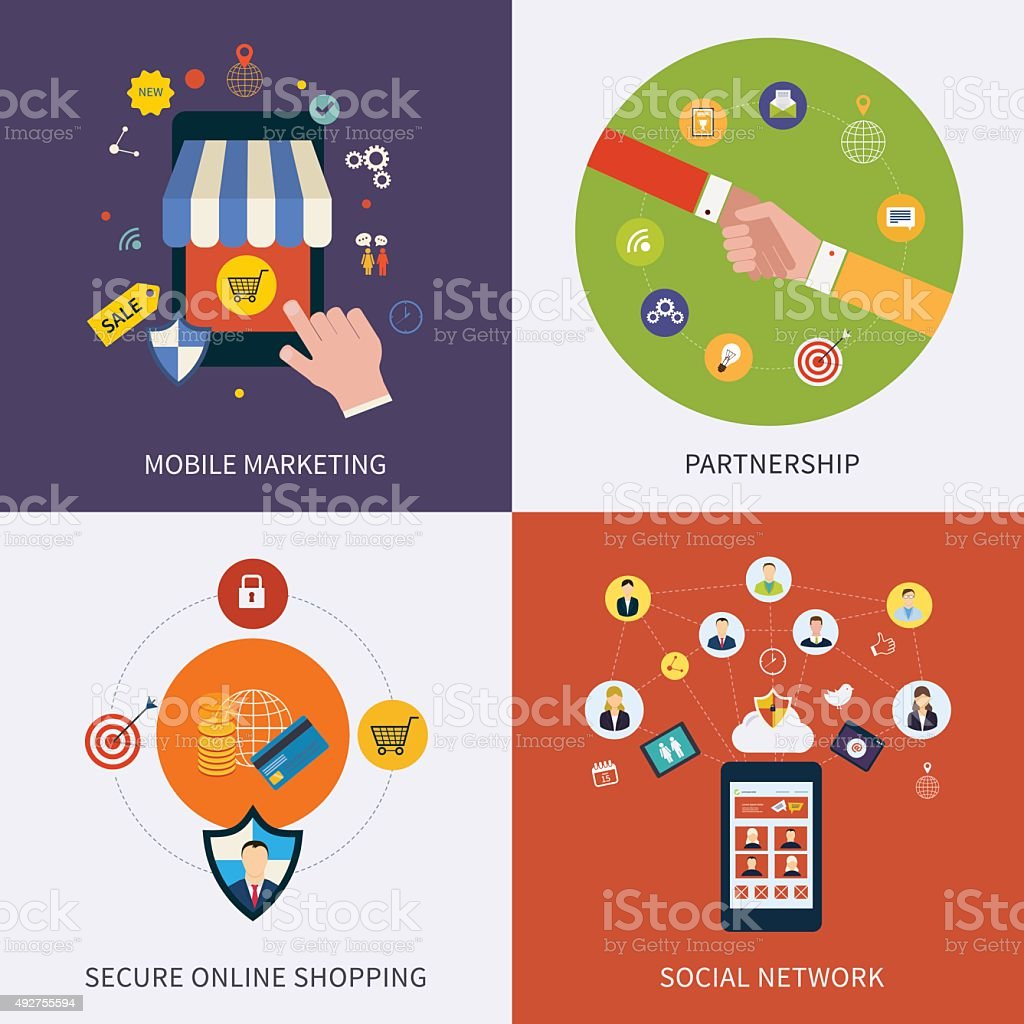 Icons for social media, partnership, online communication and secure shopping vector art illustration