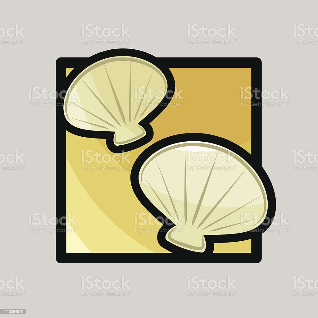 icons for summer - beach shells royalty-free stock vector art