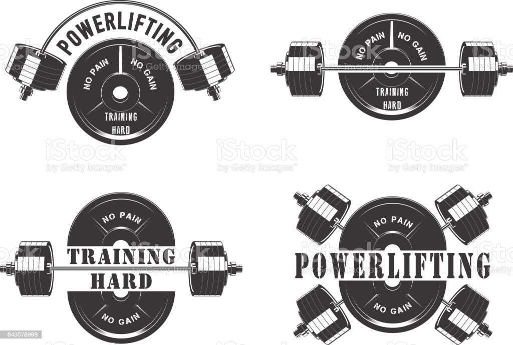 Icons for the gym and powerlifting vector art illustration
