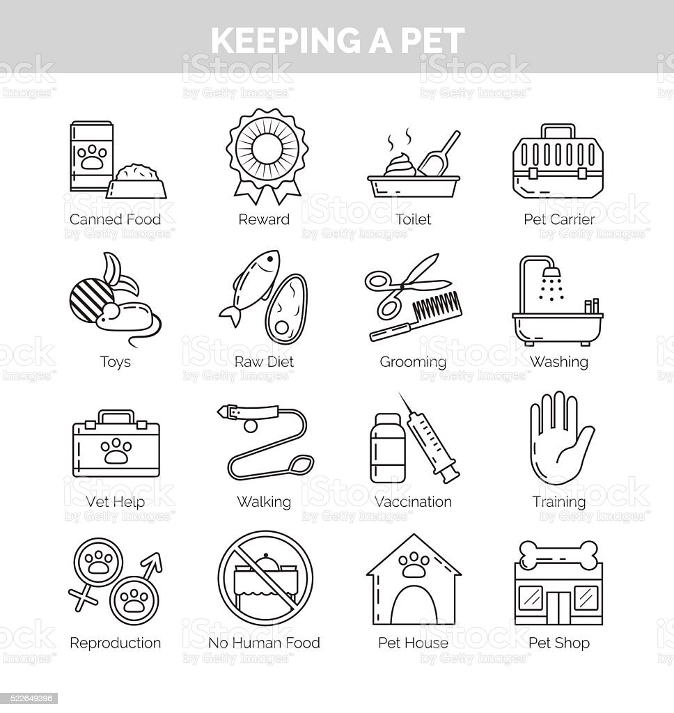 Icons for various aspects of keeping pets at home vector art illustration