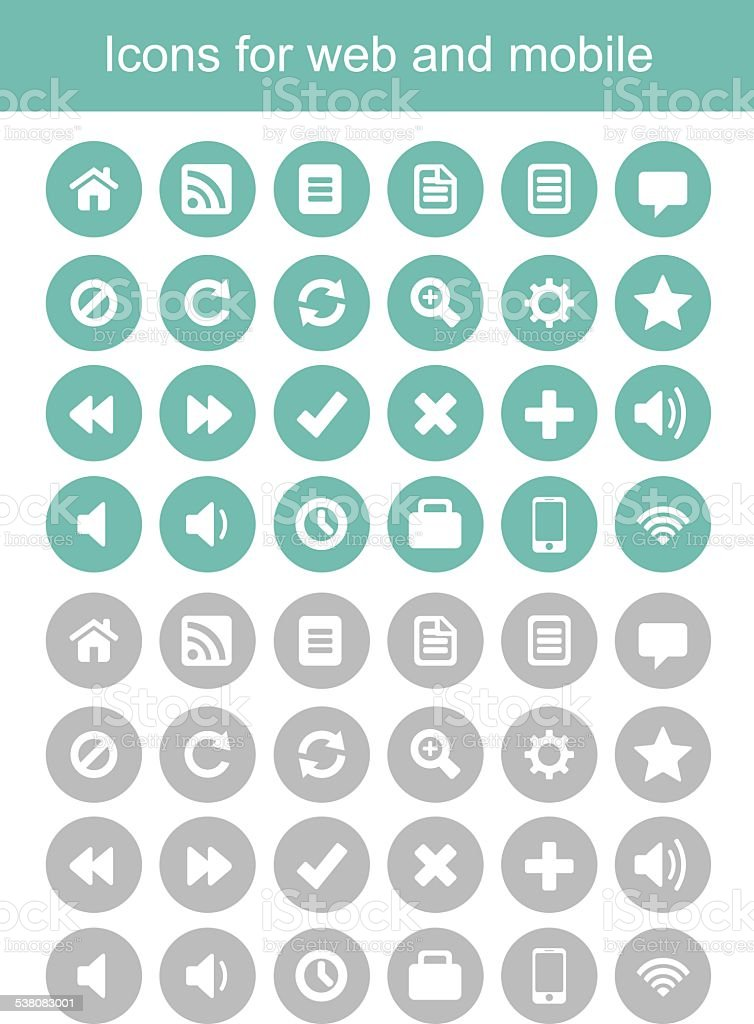 icons for web and mobile, icons vector vector art illustration