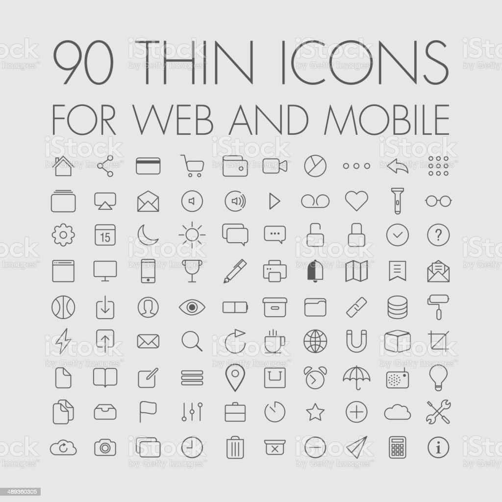 90 icons for web and mobile vector art illustration