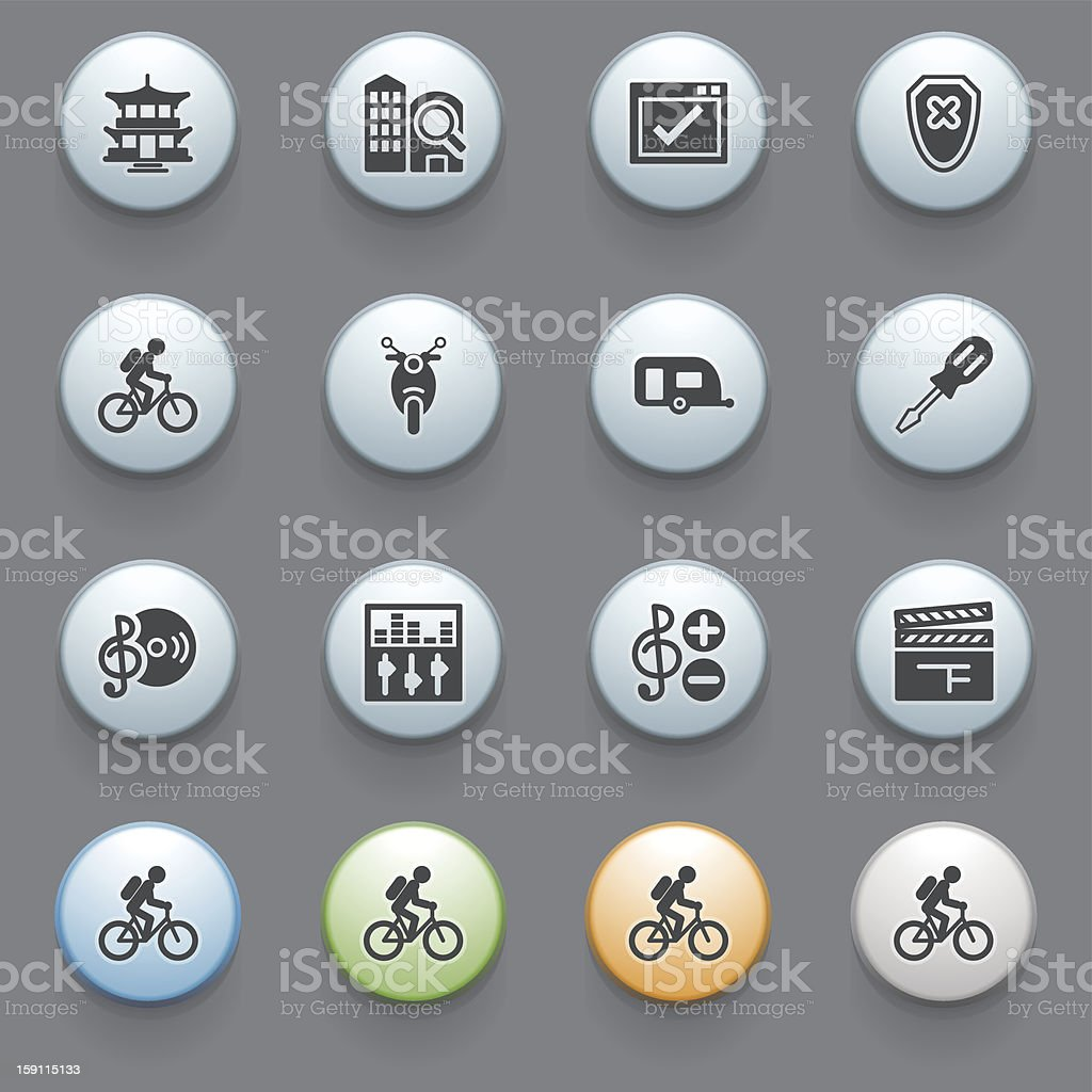 Icons for web with color buttons on gray background 4. stock photo