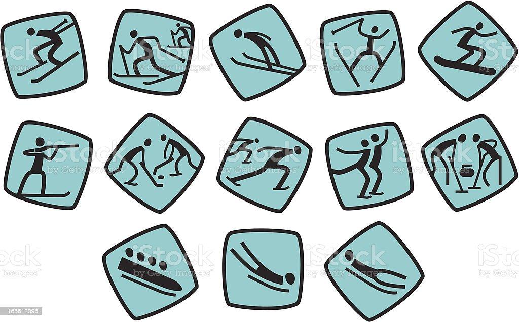 Icons for winter sport games vector art illustration