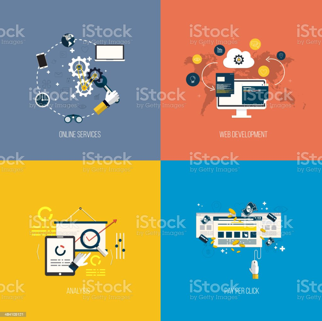 Icons foronline services, web development, analysis and pay per click royalty-free stock vector art