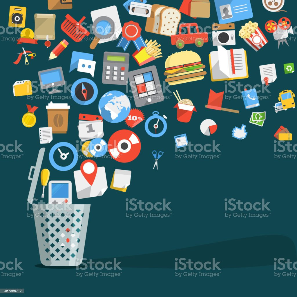 Icons going into a garbage basket vector art illustration