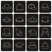 Icons hats, vector illustration.
