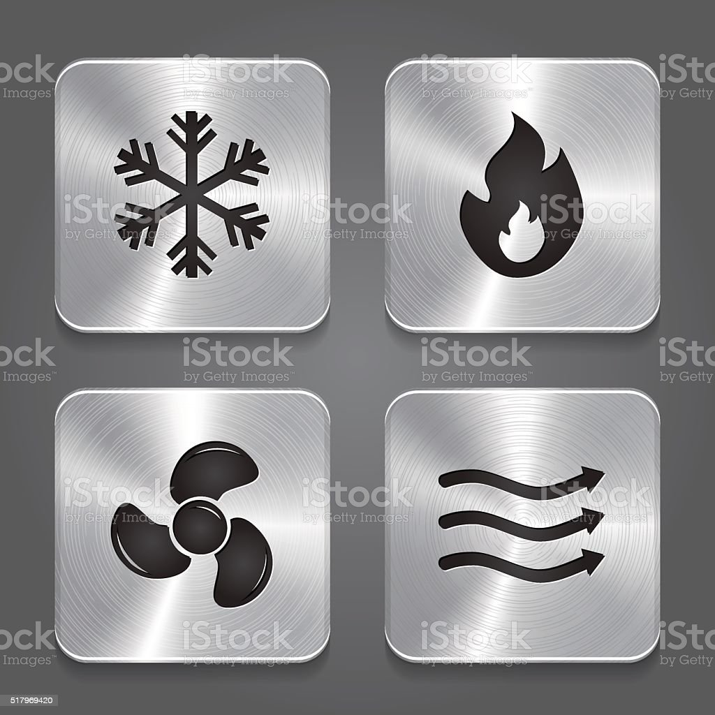 HVAC (heating, ventilating, and air conditioning) Icons. Heating vector art illustration