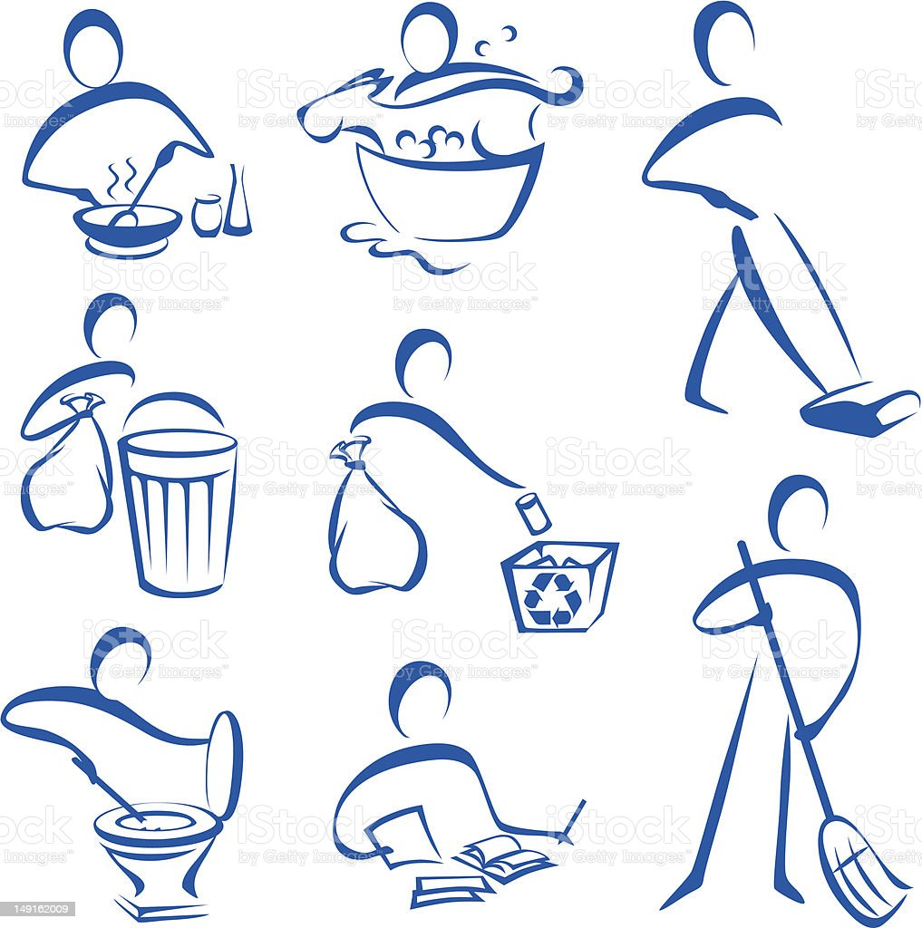 Icons: Housework vector art illustration