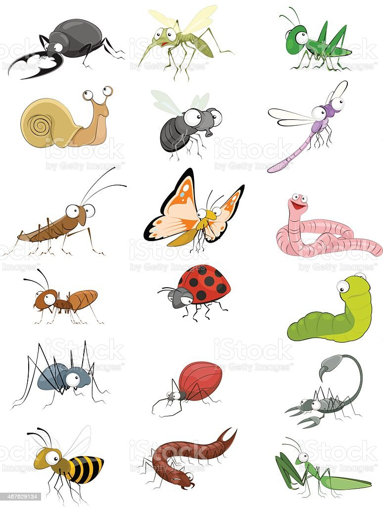 Icons insects set vector art illustration