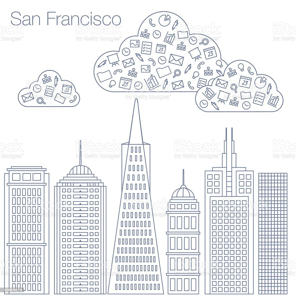 Icons Internet programs and social networking in the city vector art illustration